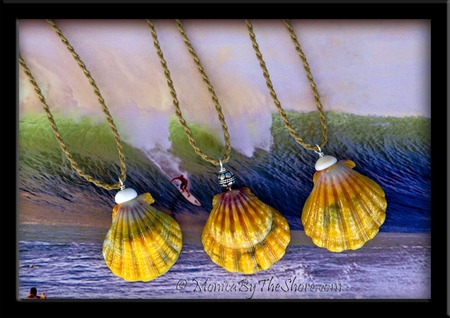 Big Country Green, Gold, Blue Hawaiian Sunrise Shell & Puka Shells Twisted Cord Necklace