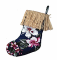 Floral Christmas Stocking - Blue