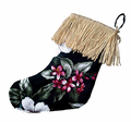 Floral Christmas Stocking - Black
