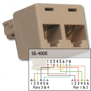 Suttle 400e 4 Line Splitter Splits An 8 Pin Jack Into 2