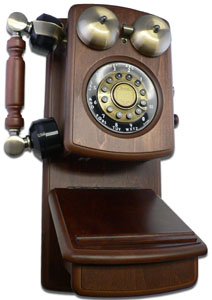 Classic Country Wood Wall Phone WALNUT