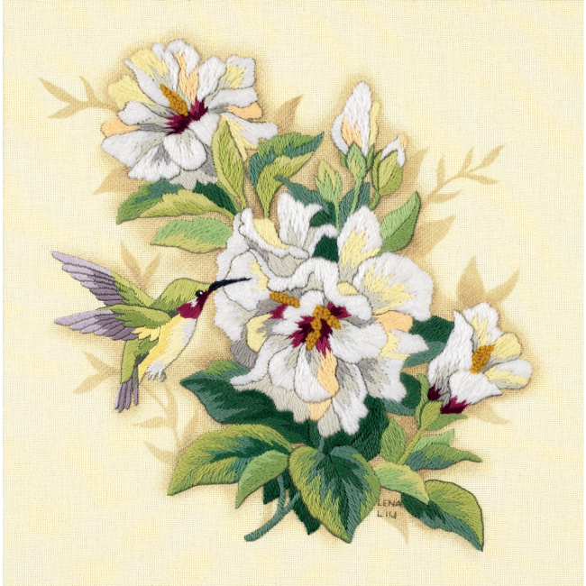 Hibiscus Floral Crewel Embroidery Kit  Hand Embroidery