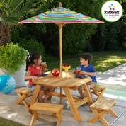 KidKraft Octagon Table, 4 Stools and Multi-Colored Striped Umbrella