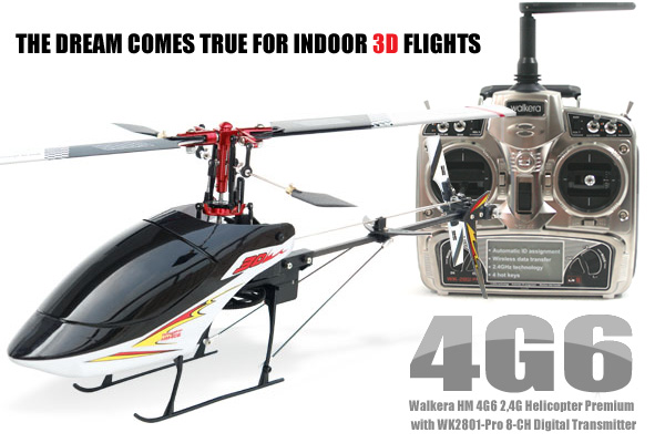 Walkera 4G6 Mini 6-CH 3D Brushless RC Helicopter with 2801pro Transmitter