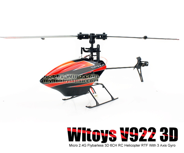 Micro WLtoys V922 2.4G Flybarless 3D 6CH RC Helicopter RTF With 3 Axis Gyro
