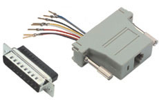 RJ45/DB25F Modular Adapter, DB25 Female to RJ45 Jack - Click to enlarge