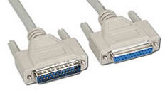DB25M/DB25F, Straight thru Pin-out Serial Cable, 6-Foot - Click to enlarge