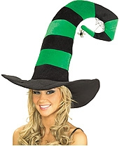 Rubies - Funky Green Striped Witch Hat