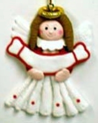 Clay Angel With Banner Ornament
