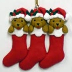 Clay Christmas Stockings and Puppies Ornament