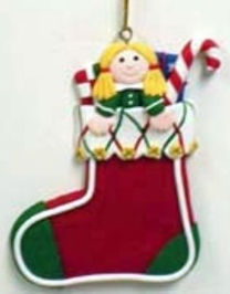 Clay Christmas Stocking With Gift Ornament