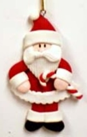 Clay Santa With Candy Cane Christmas Ornament
