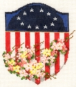 Americana Shield & Flowers