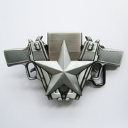 Belt Buckle (Antique Silver Guns Star Lighter)