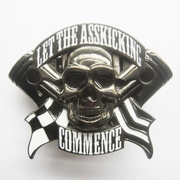 Belt Buckle (Hemetite Guy Grey Emo Skull Flag Lighter)