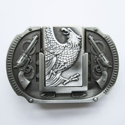 Belt Buckle (Antique Silver Eagle Guns Lighter)