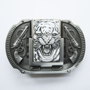 Belt Buckle (Antique Silver Tiger Guns Lighter)