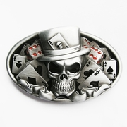 New Jeansfriend Original Enamel Dice Skull Tattoo Poker Casino Oval Vintage Belt Buckle