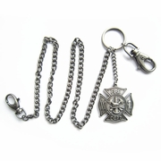 Silver Plate Firemen Firefighter Fire Dept Jeans Wallet Key Chain