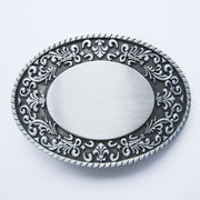 Western Flower Trims Oval Blank Belt Buckle