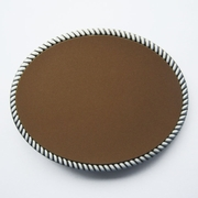 Leather Covered Oval Blank Belt Buckle