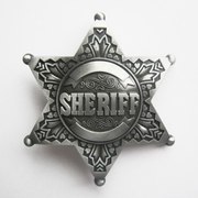 New Vintage Pewter Western Sheriff Star Belt Buckle Gurtelschnalle Boucle de ceinture BUCKLE-GU044
