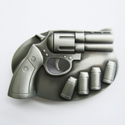 Belt Buckle (3D Revolver With Bullets)