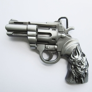 Belt Buckle (Tattoo Skull Revolver Gun)