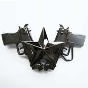 Belt Buckle (Classic Hemetite Gun And Star)