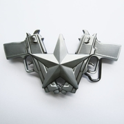 Belt Buckle (Classic Antique Silver Guns Star)