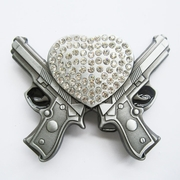 Belt Buckle (Rhinestone Heart W Guns)