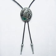New JEAN'S FRIEND Vintage Western Shout Wolf Oval Bolo Tie Wedding Leather Necklace