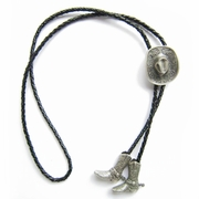 New Vintage Silver Plated Western Cowboy Boots Cap Wedding Bolo Tie Leather Necklace