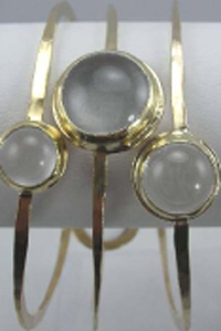Rebecca Norman 14K Gold Vermeil Bracelets with Clear Quartz Set