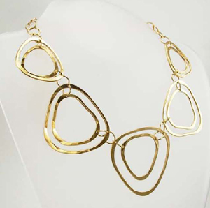 Rebecca Norman Hammered Triangle Link Necklace