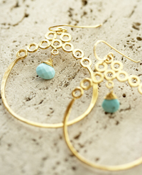 Rebecca Norman 14K Gold Vermeil Earrings with Apatite Stone