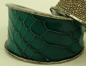 Rebecca Norman Teal Snake Abstract Cuff
