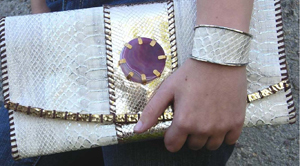 Rebecca Norman Oversized Snakeskin Clutch With Agate Stone