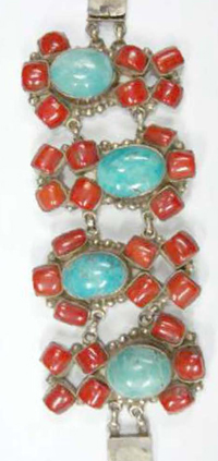 SURevolution Chinese Coral and Turquoise Bracelet