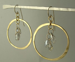 Rebecca Norman Hammered Hoops with Crystals