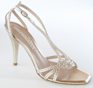 Pura Lopez Braided High-Heeled Metallic Sandal
