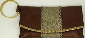 Rebecca Norman Leather and Stingray Clutch with Gold Bangle