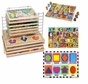Melissa & Doug Chunky Puzzle Bundle: Shapes Chunky, Jumbo Numbers Chunky, Jumbo ABC Chunky with Deluxe Wire Puzzle Rack