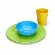 Green Eats Tabletop Set: 1 Plate + Bowl and Tumbler - click to enlarge