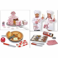 Melissa and Doug Chef Costume 3 Sets of Food: Ice Cream Parlor, Bake & Decorate Cupcakes, and Make & Serve Apple Pie - click to enlarge