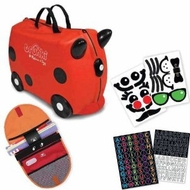 Trunki by Melissa & Doug Ride-On Kids Luggage - Ruby Red Includes Matching Saddle Bag and Decorative Sticker Set - click to enlarge
