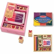 Melissa and Doug Friendship Stamper, Rainbow 6 Color Stamp Pad & Butterfly and Hearts Stamp Set - click to enlarge
