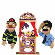 Melissa and Doug Deluxe Theater with Police Officer and Firefighter Puppets - click to enlarge
