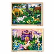 Melissa & Doug Deluxe Wooden Jigsaw Puzzle Bundle - Castle/Horses - 48 - Piece - click to enlarge