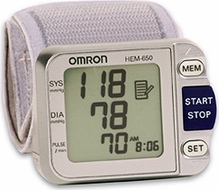 Omron HEM-650 Wrist Blood Pressure Monitor w/ Advanced Positioning Sensor - click to enlarge
